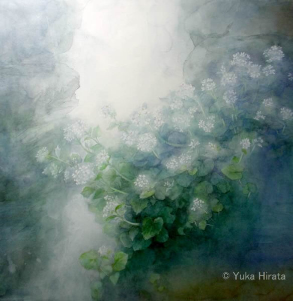 「雪解けの岩の上に」2012 36×36